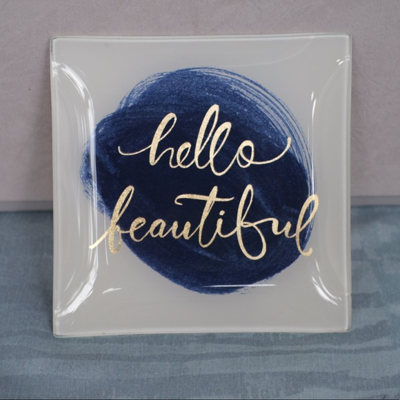 """Glass jewelry tray with gold """"hello beautiful"""""""